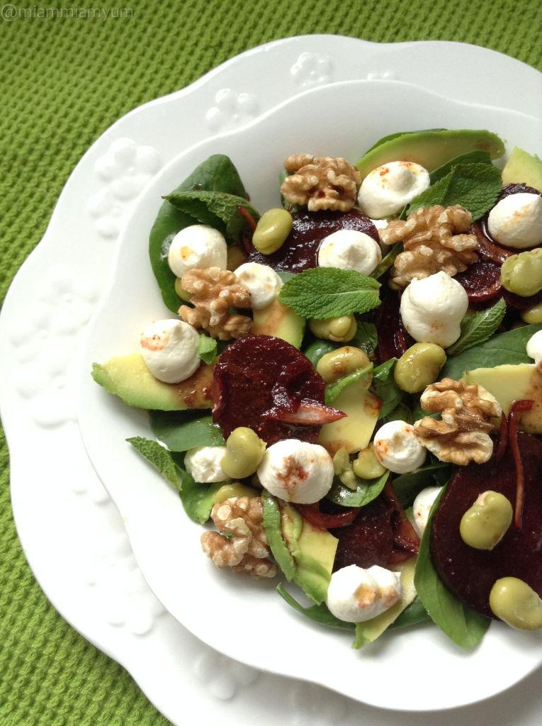 Spinach, beetroot, broadbean and goats cheese cream salad