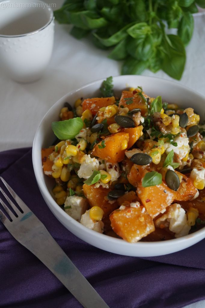 Roasted butternet, corn & feta salad