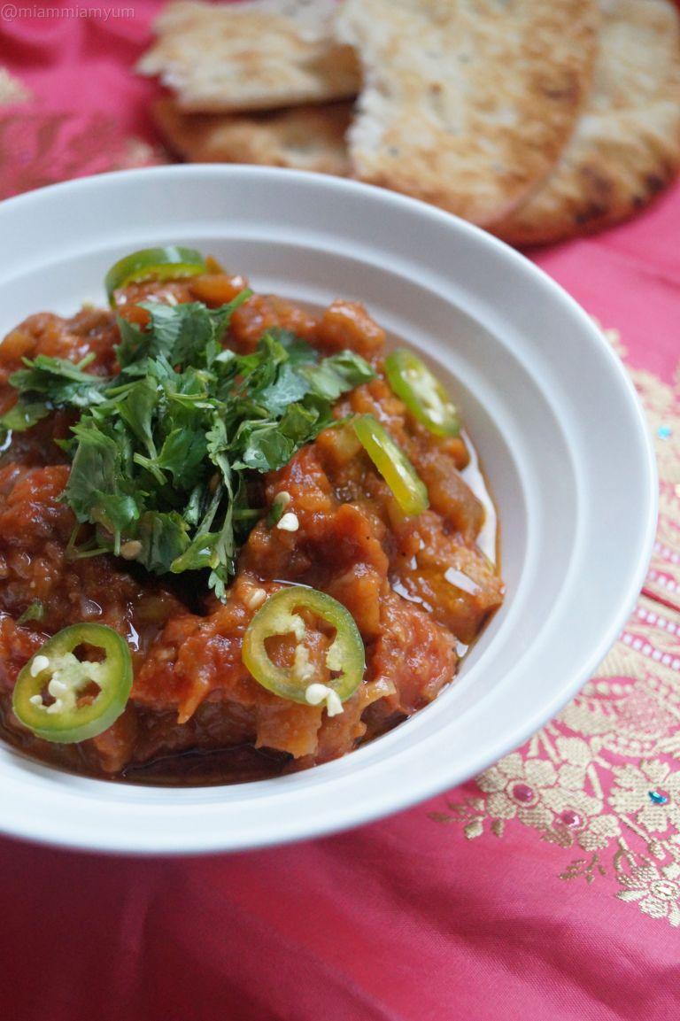 Indian burnt aubergine curry