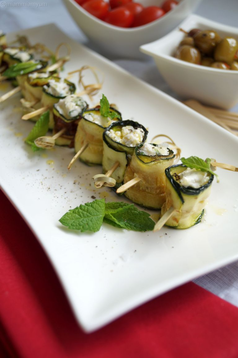Courgette & goats cheese rolls
