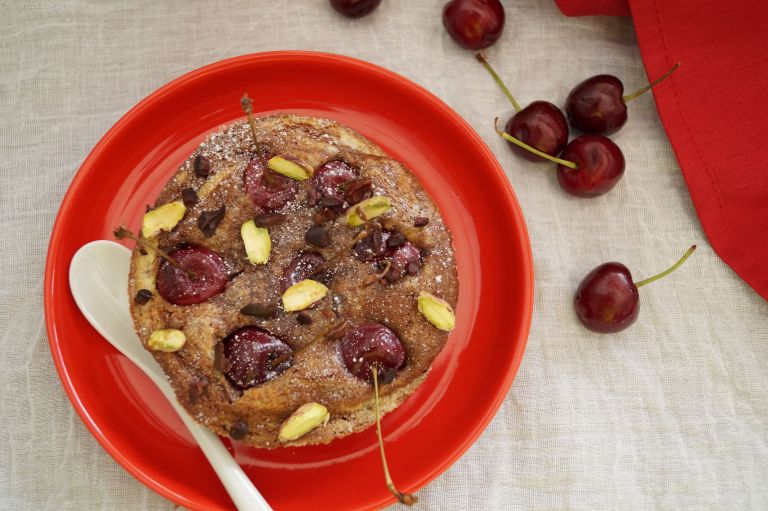 Cherry, chocolate & pistachio clafoutis 3