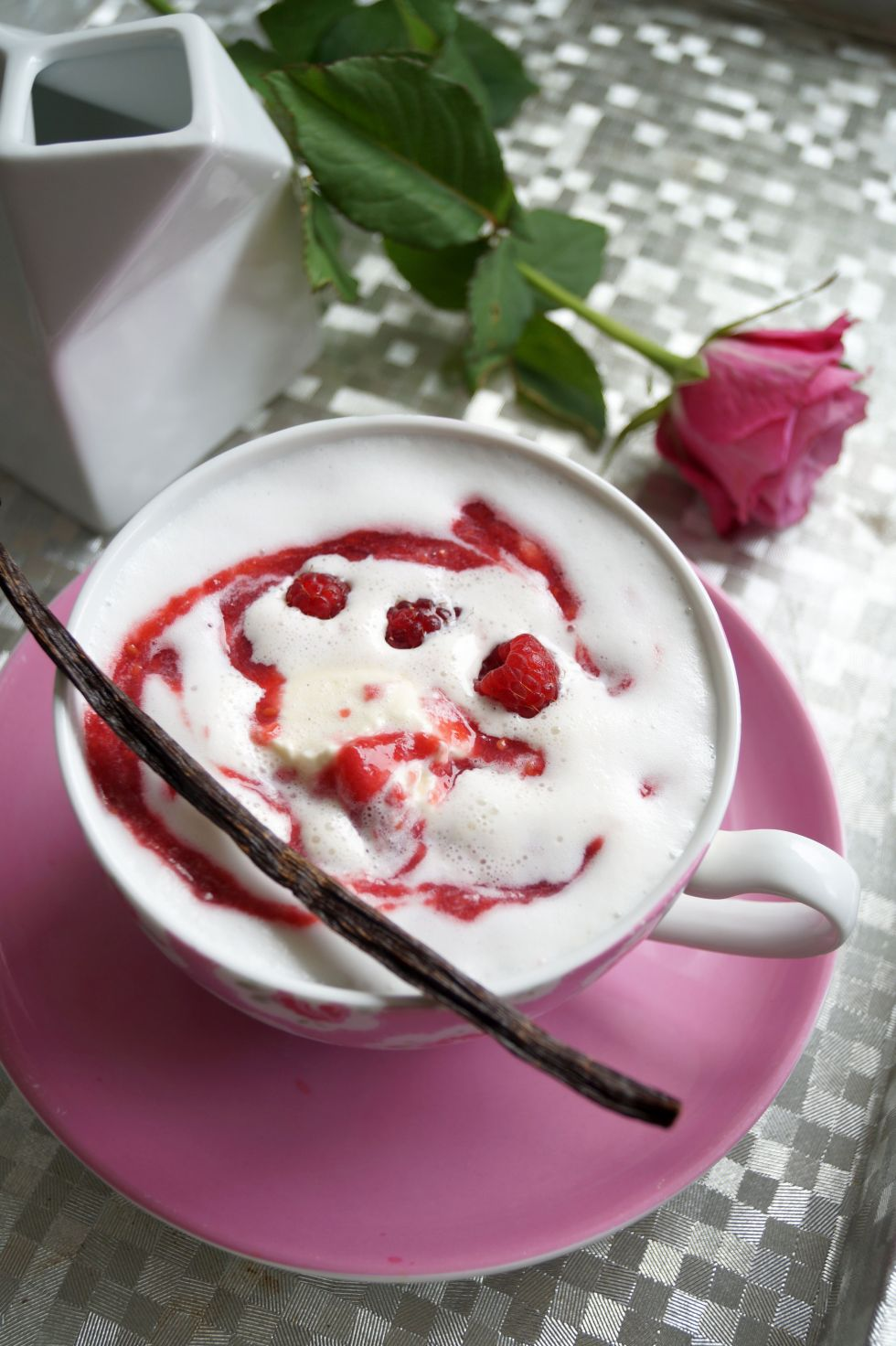 Raspberry almond milk & vanilla whipped cream