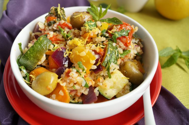 Roasted mediterranean veg & boulghour salad