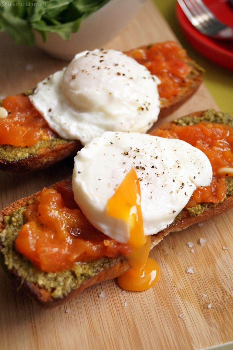 Italian job - pesto tomato ciabatta & poached egg 1