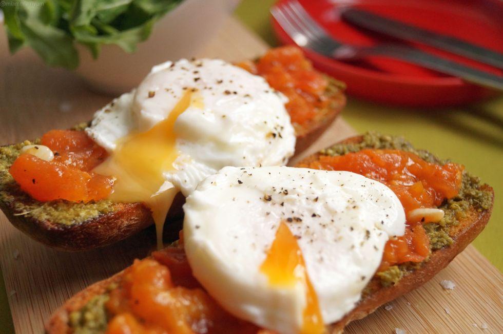 Italian job - pesto tomato ciabatta & poached egg 4
