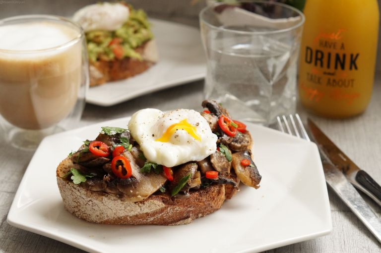 Mushroom sourdough toast & poached egg1
