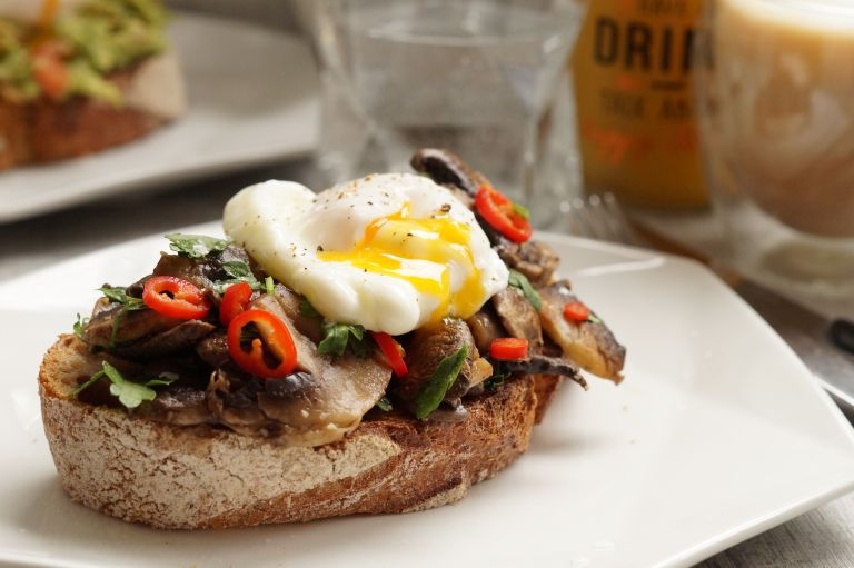 Mushroom sourdough toast & poached egg3