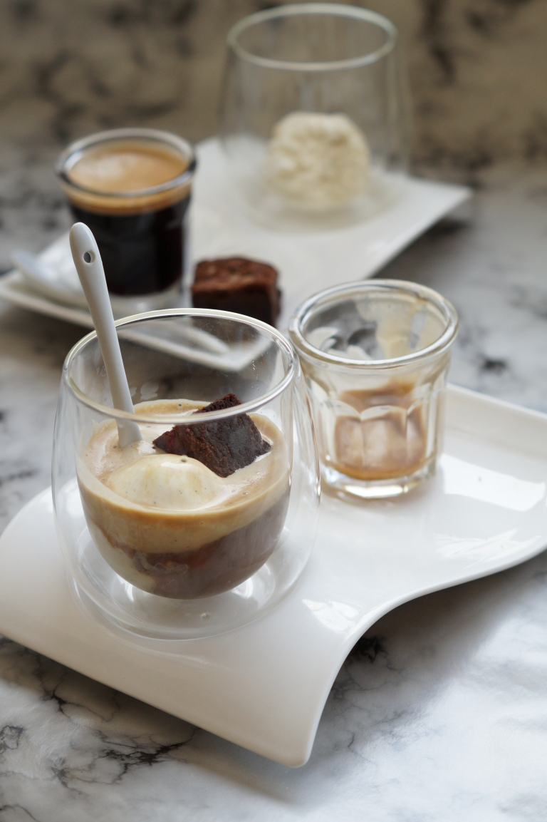 Affogato brownie spoon